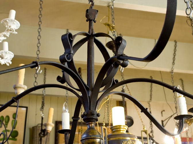 "Hand-Forged Iron and Brass ""Defiance"" Chandelier 4"