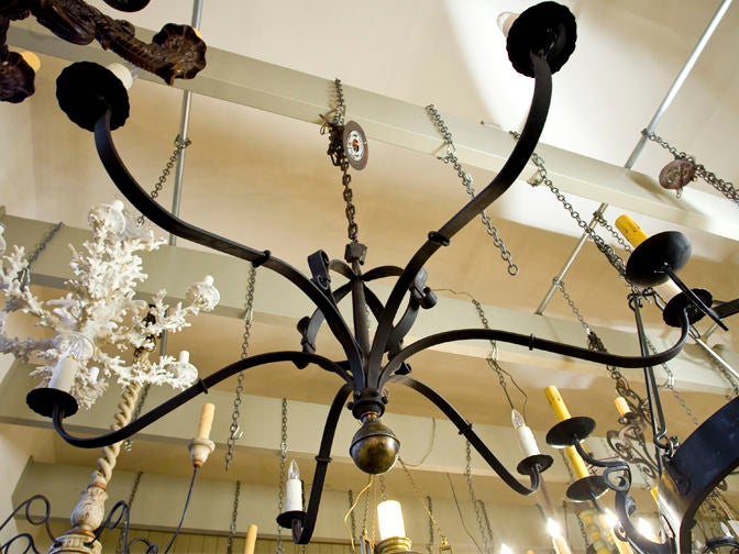 "Hand-Forged Iron and Brass ""Defiance"" Chandelier 5"