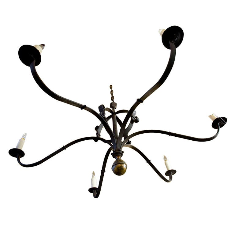 "Hand-Forged Iron and Brass ""Defiance"" Chandelier 1"