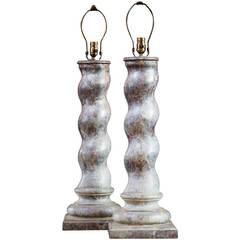 Pair of Rare Antique Marbleized Porcelain Enamel on Iron Table Lamps