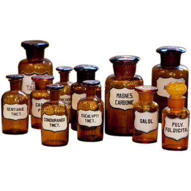 Blown Glass Pharmacy Bottles with Painted Labels
