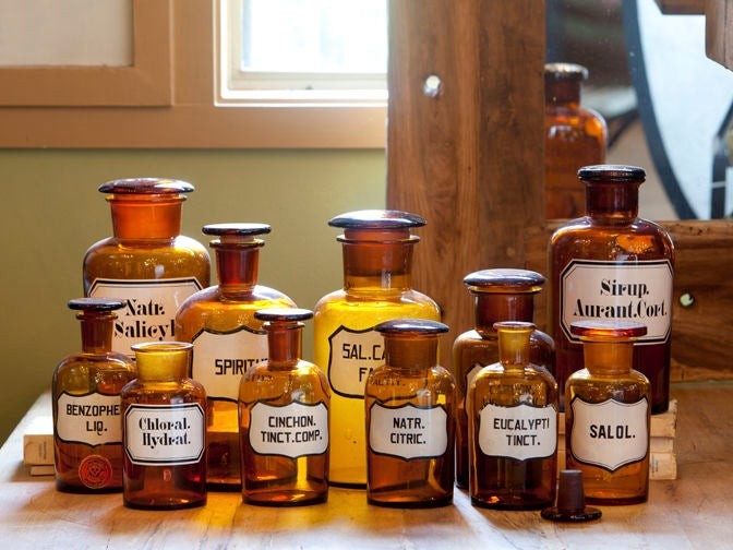 Blown Glass Pharmacy Bottles with Painted Labels 3