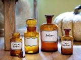Blown Glass Pharmacy Bottles with Painted Labels image 4