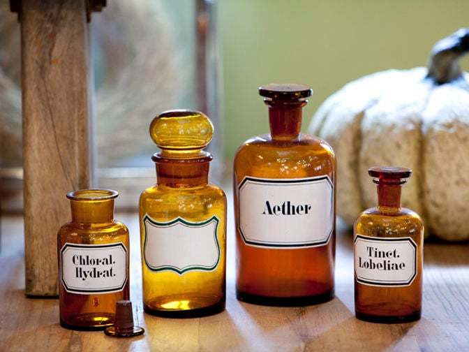 Blown Glass Pharmacy Bottles with Painted Labels 4
