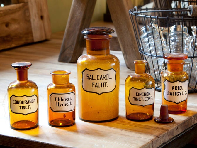 Blown Glass Pharmacy Bottles with Painted Labels 6