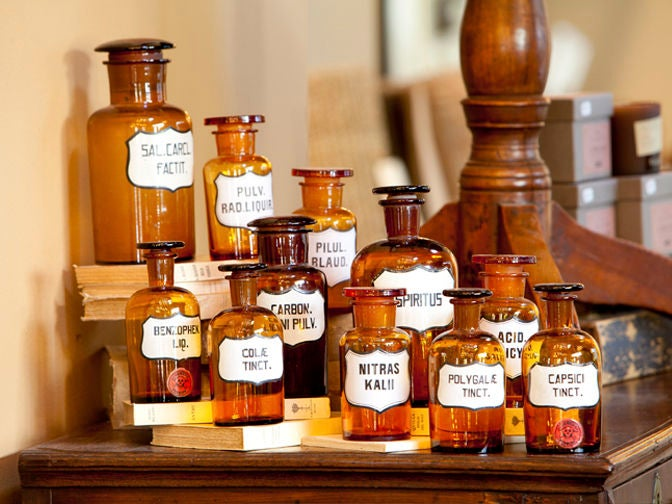 Blown Glass Pharmacy Bottles with Painted Labels 7