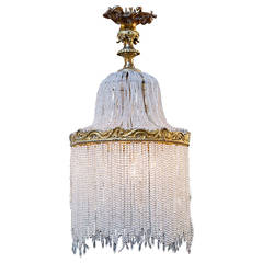 Antique French Gilt of Bronze Crystal Beaded Light