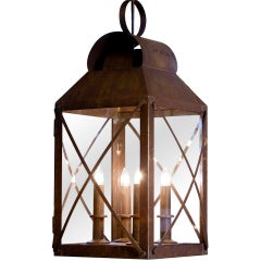 Large, Custom Hand-Crafted American Four-Light Brass and Glass Hanging Lantern