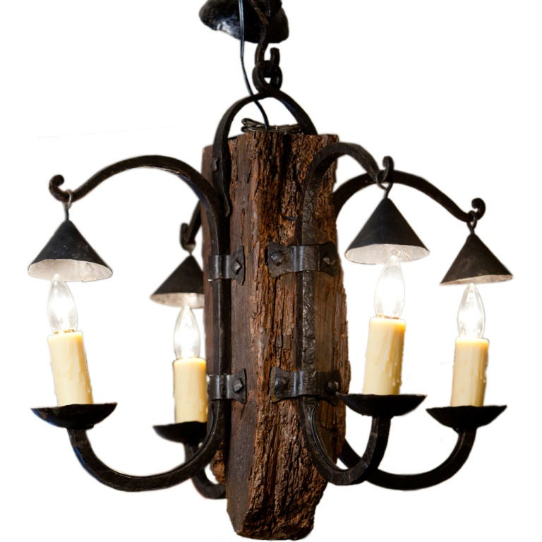French Hand Forged Iron And Wood Rustic Chandelier At 1stdibs