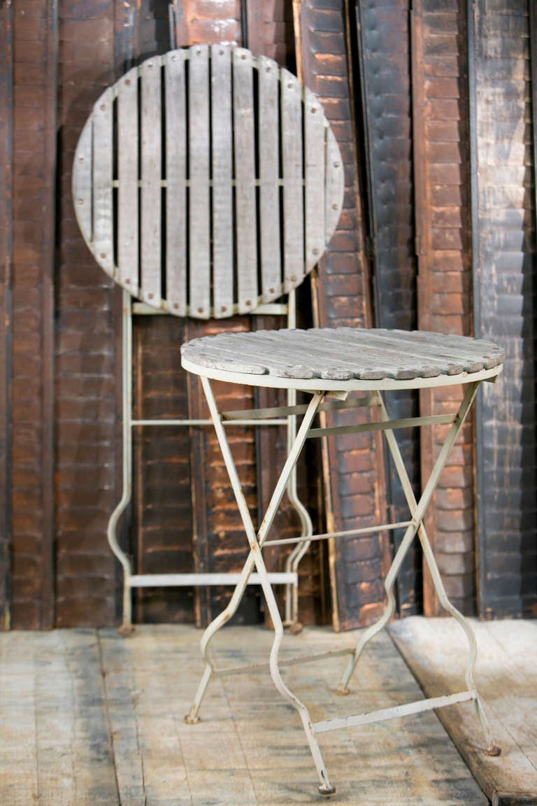 pair of vintage french folding wood and iron bistro tables circa 2
