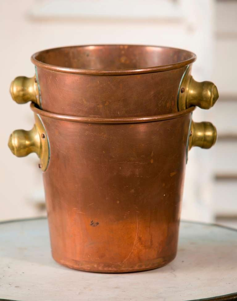 Pair Of Frecnch Copper And Brass Wine Buckets At 1stdibs
