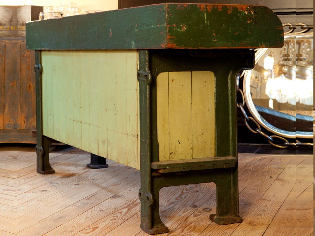 Kitchen Island Or Potting Table With Zinc Top And Iron Feet Circa 1920 At 1stdibs