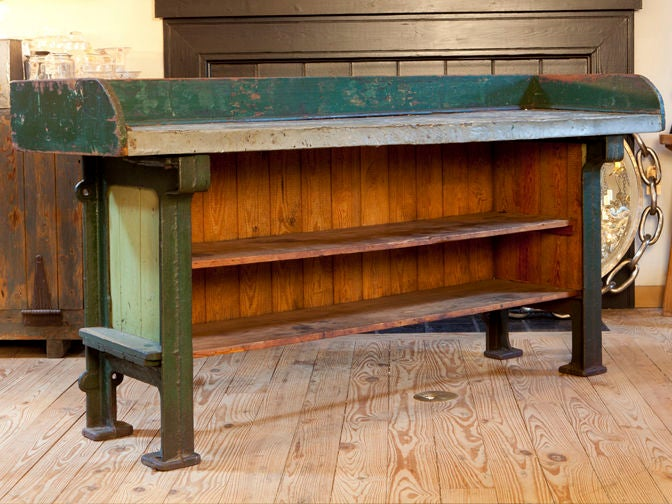 Kitchen Island Or Potting Table With Zinc Top And Iron