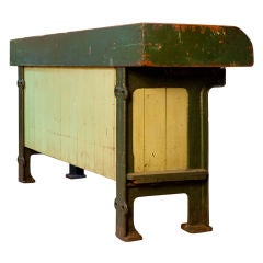 Vintage store counter/potting table with zinc top and iron feet