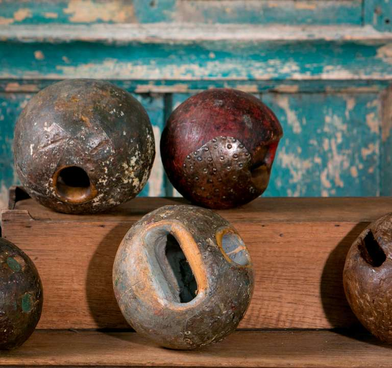 Assorted 19th Century European Iron and Wood Game Balls 3