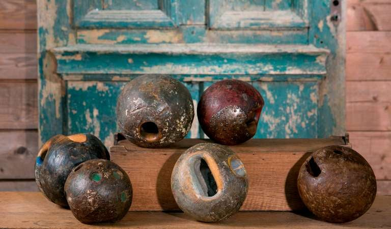 Assorted 19th Century European Iron and Wood Game Balls 2