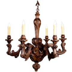 Louis XV Style Rococo Carved Wood Chandelier from France, circa 1900