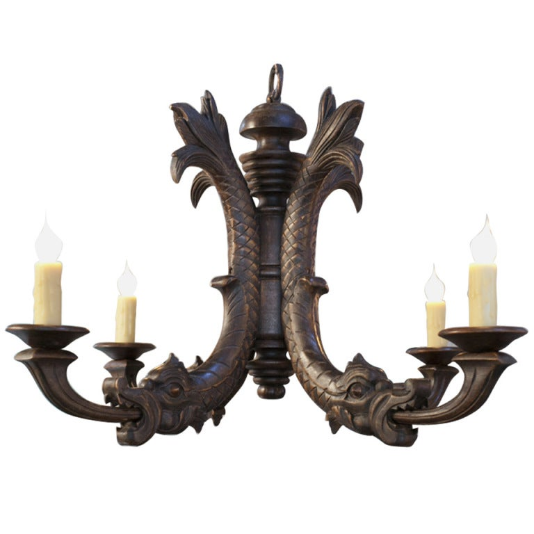 Antique Hand-Carved Wood Chandelier with Dragon Motif 1 - Antique Hand-Carved Wood Chandelier With Dragon Motif At 1stdibs