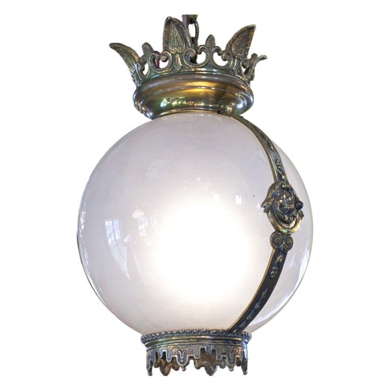 Majestic French Antique Bronze And Milkglass Round Pendant
