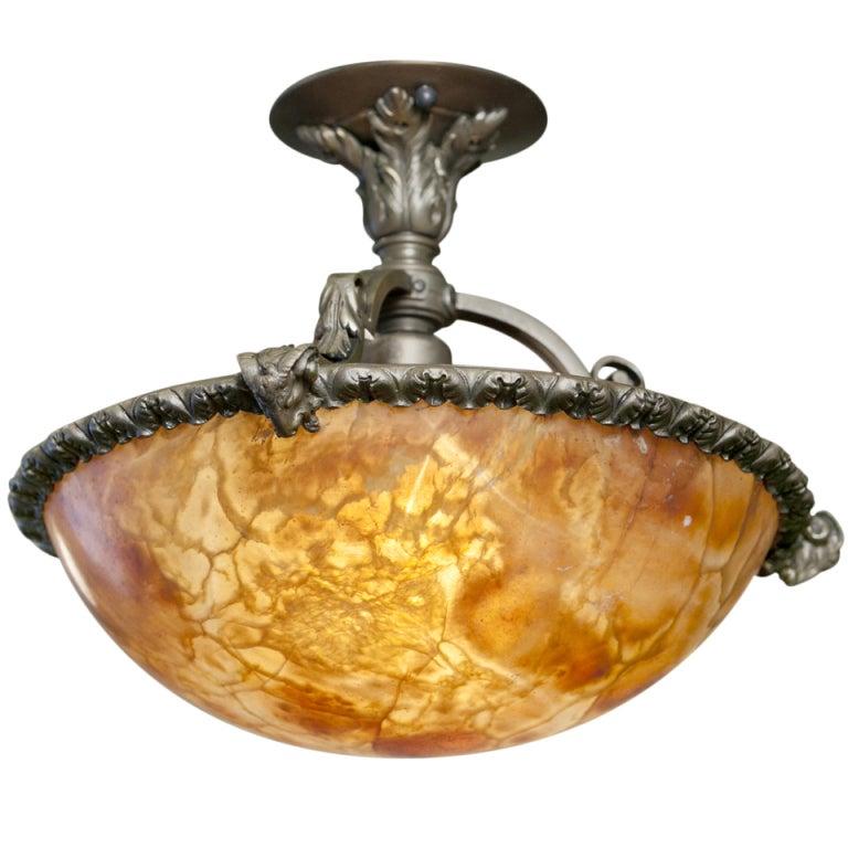 art deco alabaster chandelier ceiling light at 1stdibs filso
