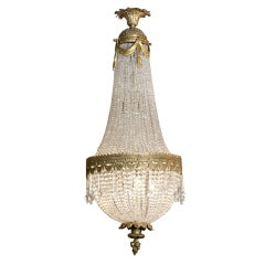 French Antique Bronze Dore' and Crystal Chandelier