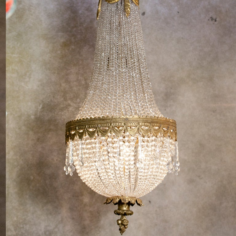 French Antique Bronze Dore And Crystal Chandelier At 1stdibs