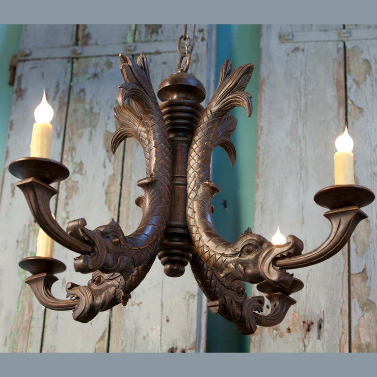 Antique Hand-Carved Wood Chandelier with Dragon Motif 2 - Antique Hand-Carved Wood Chandelier With Dragon Motif At 1stdibs