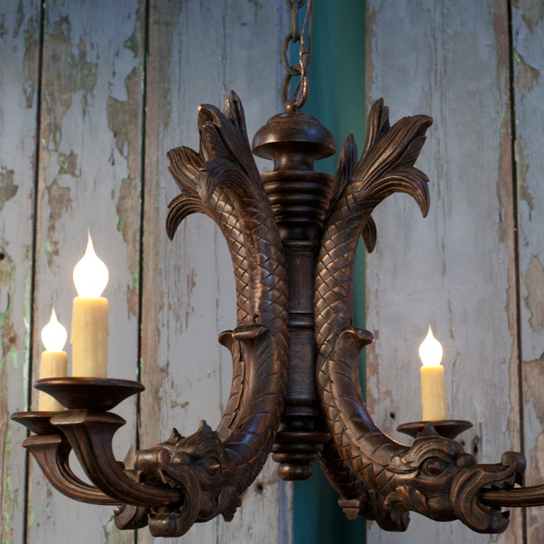 Antique Hand-Carved Wood Chandelier with Dragon Motif 3 - Antique Hand-Carved Wood Chandelier With Dragon Motif At 1stdibs