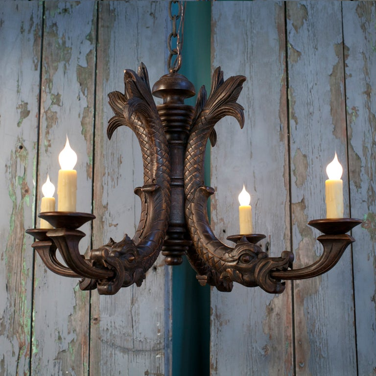 Antique Hand Carved Wood Chandelier with Dragon Motif at