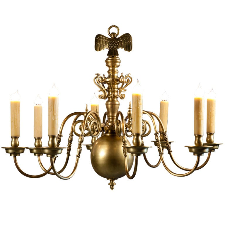 Heavy Bronze Flemish Chandelier With 8 Arms And Eagle For