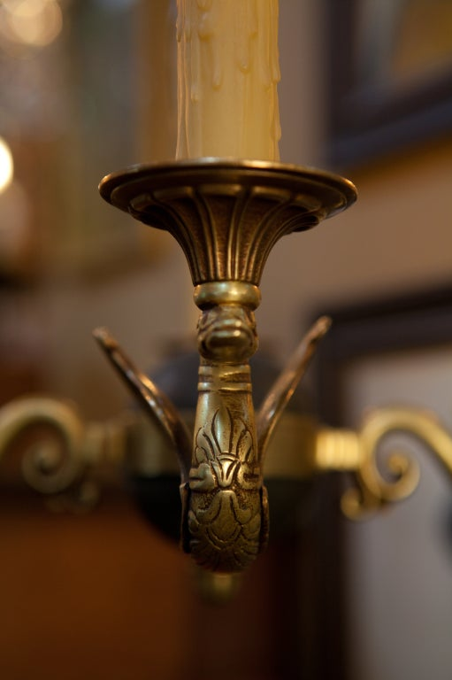 Empire Style French Empire 4 Arm Brass Chandelier At 1stdibs