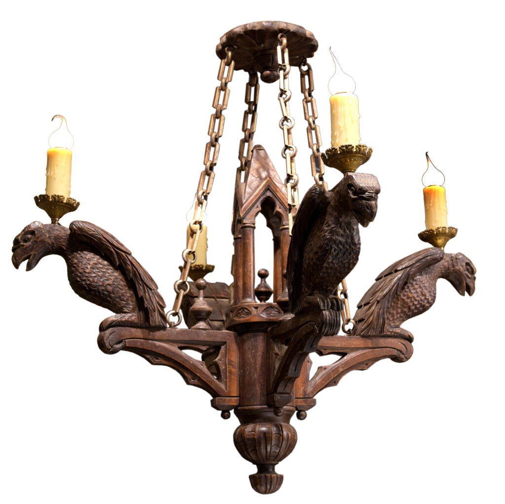 Neo Gothic Carved Wood Chandelier With 4 Lights At 1stdibs