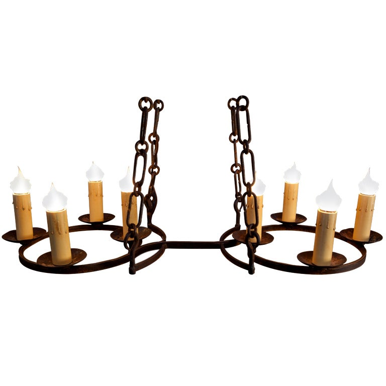 "Custom American Made, Hand-Forged Iron Eight-Light ""Cuyahoga"" Chandelier"