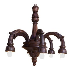 Hand-Carved Victorian-Style Wood Chandelier with Downward Lights, circa 1910