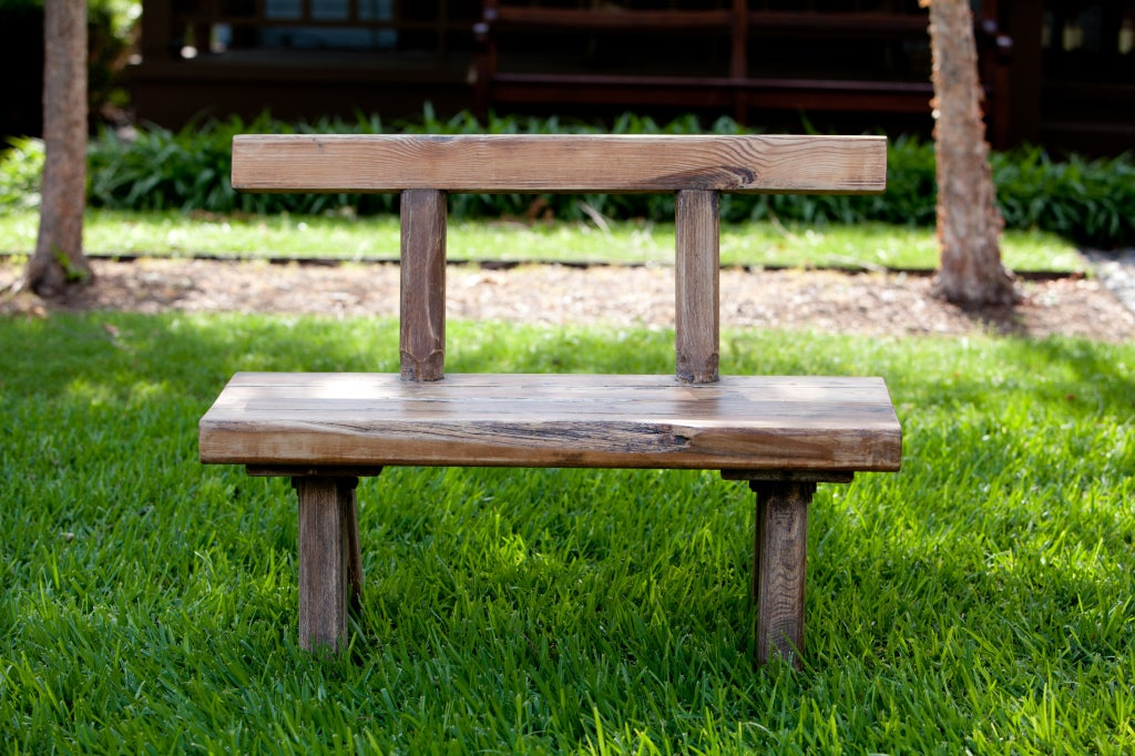 Primitive Antique Rustic Oak Bench with Backrest from Belgium, circa 1910 2