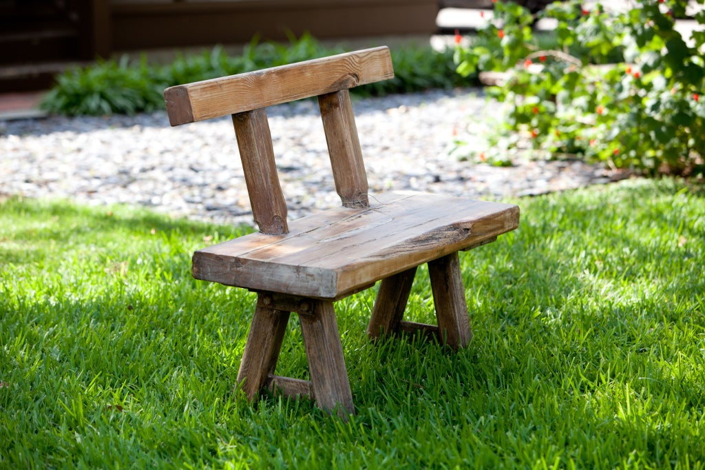 Primitive Antique Rustic Oak Bench with Backrest from Belgium, circa 1910 3