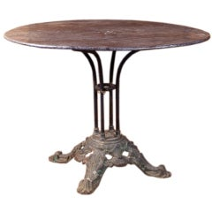 Antique French Iron Table with Cast Iron Base, circa 1890