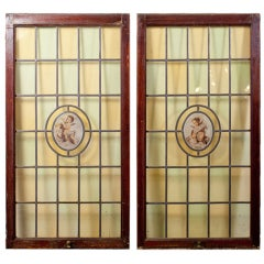 Pair Leaded Glass and Hand-painted Windows with Cherubs