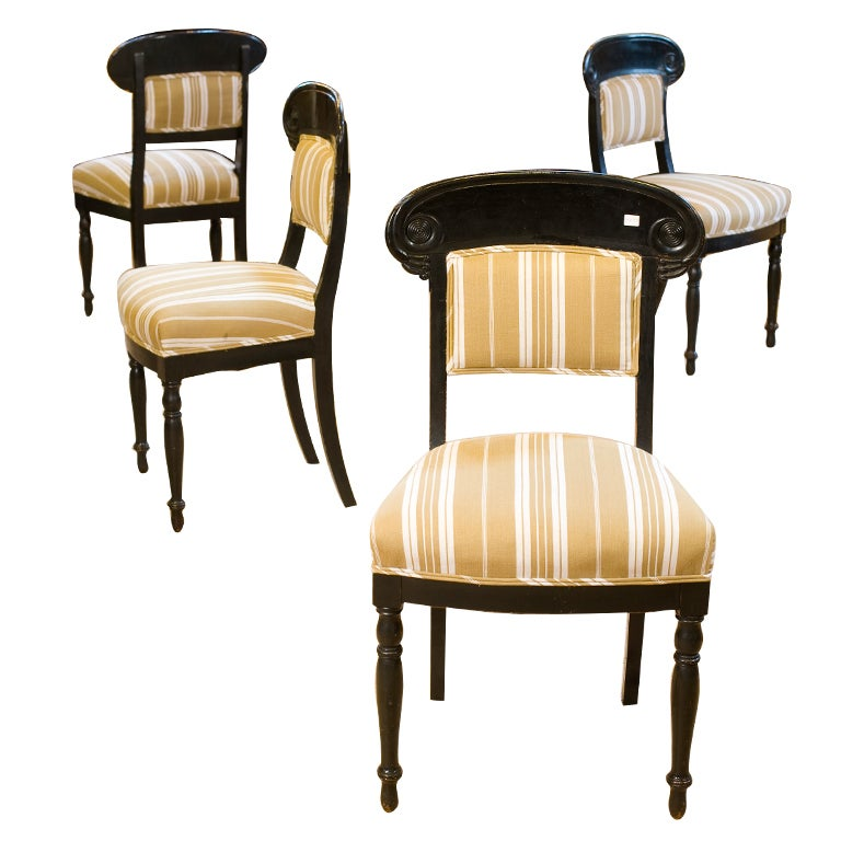 Set Of Four Antique Ebonized Greek Revival Dining Chairs For