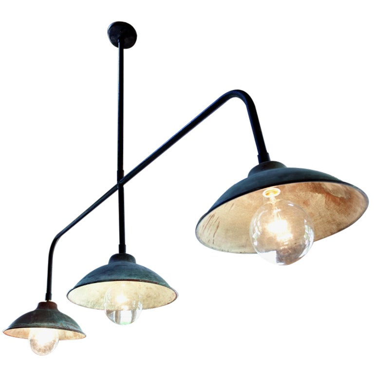 Industrial Light Of Copper And Iron At 1stdibs