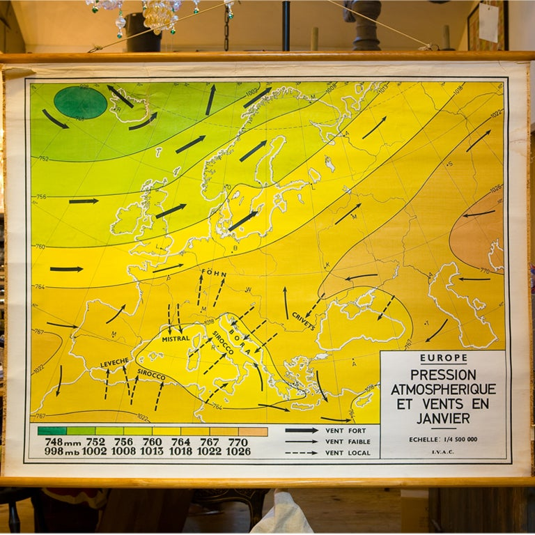 Giant Vintage Belgian Chart of Wind Currents and Atmospheric Pressure 2