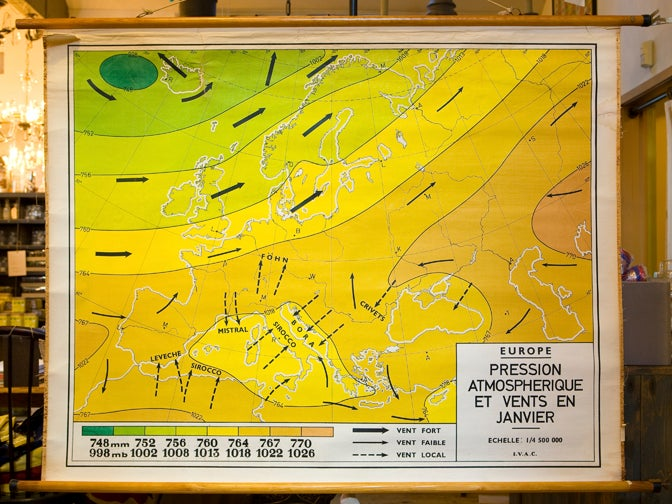 Giant Vintage Belgian Chart of Wind Currents and Atmospheric Pressure 3