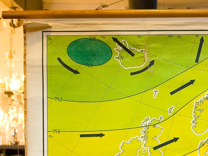Giant Vintage Belgian Chart of Wind Currents and Atmospheric Pressure 5