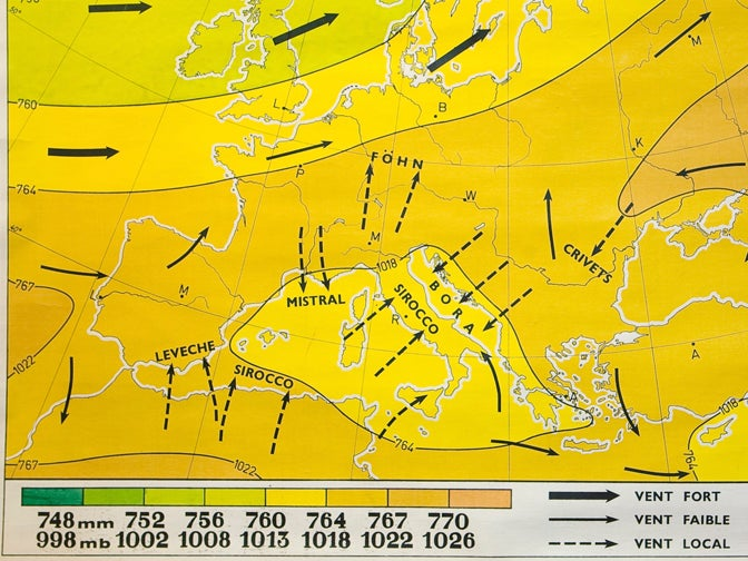 Giant Vintage Belgian Chart of Wind Currents and Atmospheric Pressure 6