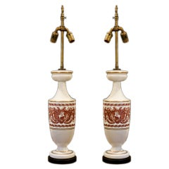 Pair Neoclassical Milk Glass Lamps