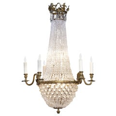Empire Style 6-Arm Chandelier of Bronze and Frosted Glass