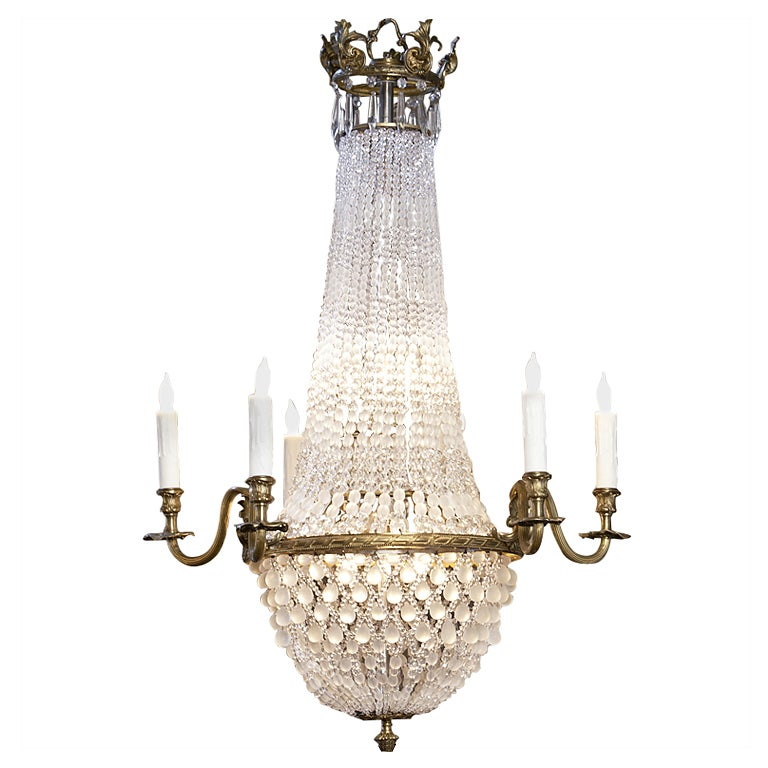 Empire Style 6 Arm Chandelier Of Bronze And Frosted Glass