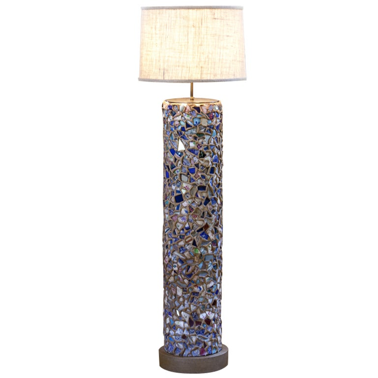 Piece assistte floor lamp of mosaics at 1stdibs for Floor lamp mosaic wood