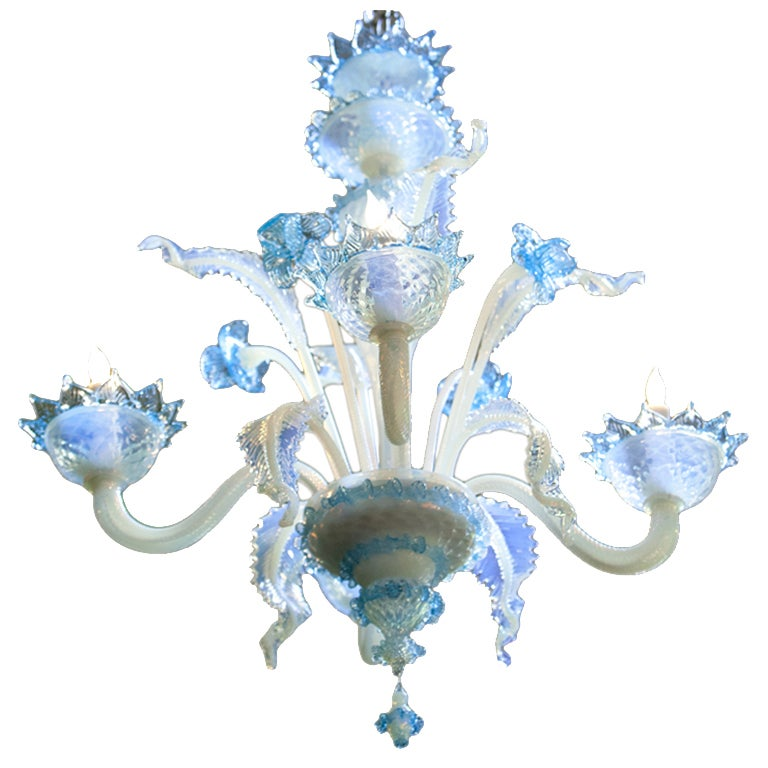 Turquoise and Milk Glass Murano Chandelier at 1stdibs
