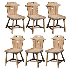 """Pair of Rustic, Charming, Hand-Carved """"Alpine"""" Chairs"""